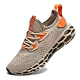 FUSHITON Chaussures de Sport Hommes Basket Running Compétition Training Fitness Tennis Athlétique Sneakers Femme, Beige/A, 43 EU