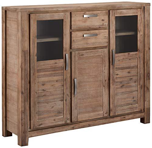 Ibbe Design Highboard Vitine Braun Lackiert Massiv Akazie Holz Vitrineschrank Alaska mit Glastüre und 2 Schubladen, L160xB45xH140cm