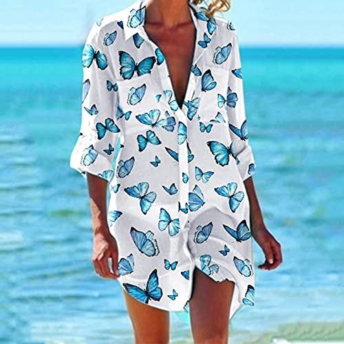 VEMOW Vestido Verano de Playa Camisero de Manga Corta Liso para Cubrir Bikini Mujer Sexy Botón Suelto Blusa Trajes de Baño con Cuello en V Camiseta Casual Irregular Oversized Long Tops