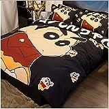 Crayon Shin-chan Juego de cama decorativo, -1 Juego de edredón nórdico, 1 sábana ajustable y 2 fundas de almohada - Hipoalergénico y resistente a las arrugas - Para los fanáticos del animé,1.2m