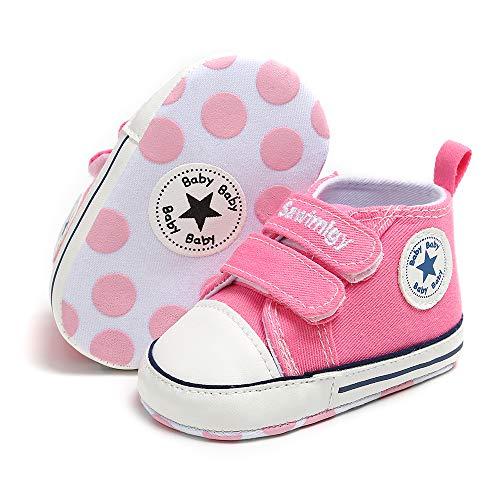 Babycute - Zapatillas de Lona para bebé con Suela Suave, Informales, para bebés y niños, Primeros Caminantes, Zapatos con Cordones, Color Beige, Talla 0-6 Meses
