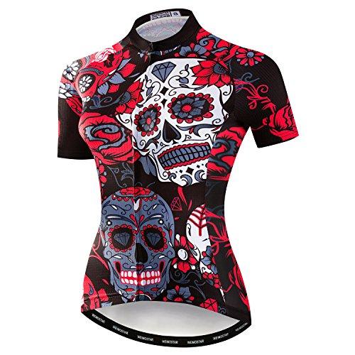 Weimostar Mountainbike-Jersey-Shirts der Radfahren Jersey-Frauen Kurze Hülse Straße Fahrrad-Kleidung Pro-Team MTB übersteigt Sommer-Kleidung Schädel rot Größe M