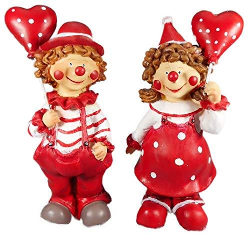 2er Set Clown mit Luftballon Karneval je 17 x 6 cm Harlekin Zirkus Figur Deko GCG D04