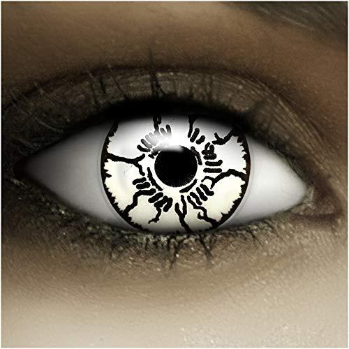 Farbige Kontaktlinsen ohne Stärke Geist + Kunstblut Kapseln + Kontaktlinsenbehälter, weich ohne Sehstaerke in schwarz und weiß, 1 Paar Linsen (2 Stück)