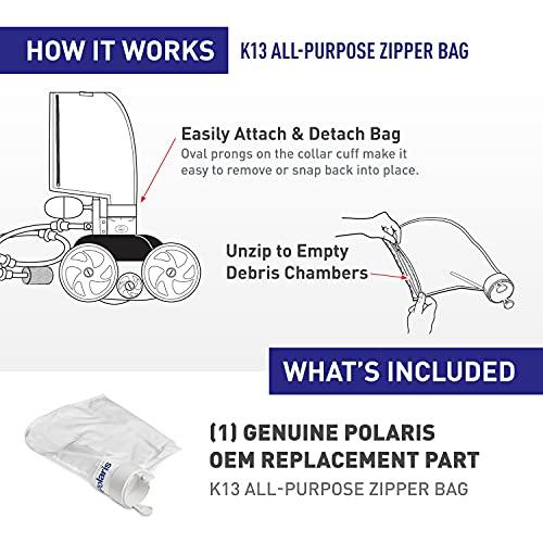 Polaris Genuine Parts K13 All-Purpose Zipper Replacement Debris Bag, For Automatic Pressure Pool Cleaner Vac-Sweep 280