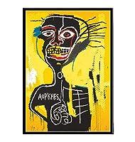 子供部屋の壁の画像の装飾、現代的なバスキアアート画像、黄色いキャンバスのHD絵画を描く黒人男性の肖像画、抽象的なストリートグラフィティアートポスター、フレームレス,40×60cm