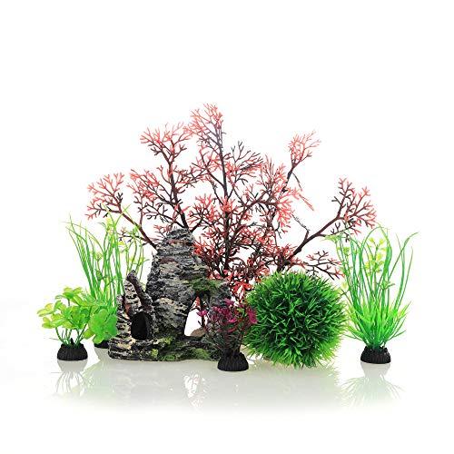 JIH Aquarium Fish Tank Plastic Plants and Cave Rock Decorations Decor Set 7 Pieces, Small and Large...