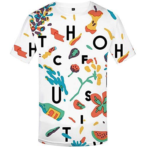 YAMAO Rundhals T- Shirt Homme,Sport, T-Shirt d'été à Manches Courtes pour Hommes, Lettres pour Hommes imprimé col Rond décontracté