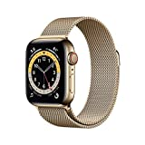 New AppleWatch Series 6 (GPS + Cellular, 40mm) - Gold Stainless Steel Case with Gold Milanese Loop
