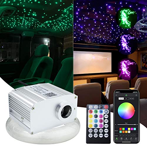 10W Twinkle RGBW LED Fiber Optic Star Ceiling Kit Light with 28key RF Remote 0.03in/0.75mm 6.5ft/2m 200 Strands