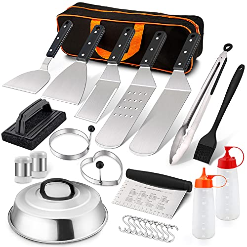 LeonYo 17 PCS Griddle Accessories, Stainless Steel BBQ Grill Accessories Tools with Hamburger Spatula Basting Cover Scraper Tongs, Metal Spatula Set for Outdoor Cast Iron Flat Top Teppanyaki Hibachi