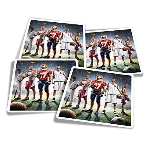 Pegatinas de vinilo (juego de 4) 10 cm – Deportes Football Basketball Team Game Divertidos calcomanías para ordenadores portátiles, tabletas, equipaje, reserva de chatarra, frigoríficos #24246