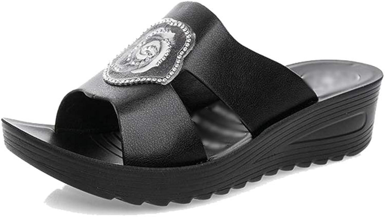 Pingyangxianyanludianzisha Women's Mid-Heel Wedge Sandals Summer Breathable Soft Non-Slip Leather Women Sandals