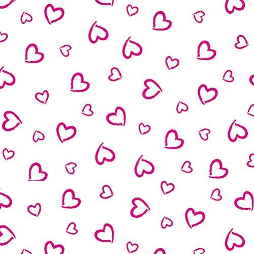 11,99€/m Herz Herzen 100% Baumwolle Baumwollstoff Kinder Meterware Handwerken Nähen Stoff (Herz Weiß Pink Offen, 100x160cm (11,99€/m))