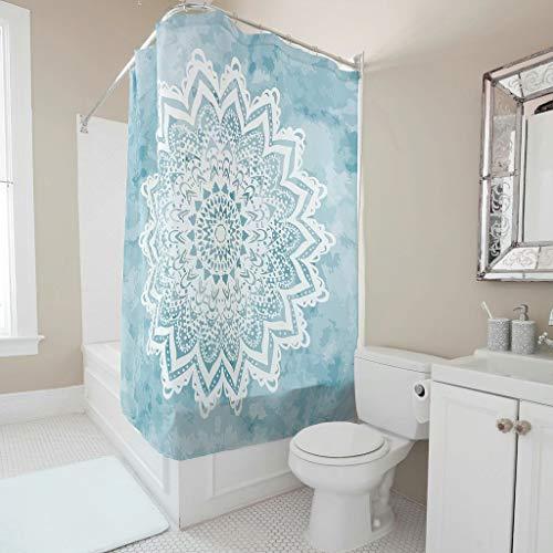 Lind88 Mandala Savanah lichtblauw patroon douchegordijn persoonlijkheid meeldauw bestendig bad gordijn met ringen - psychedelisch voor douches