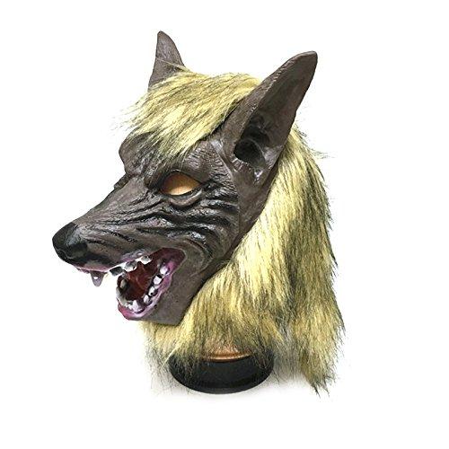Tinksky Creepy Lobo cabeza máscara de látex Teatro Prank Prop Crazy Máscaras traje de Halloween para Halloween horror noches