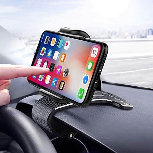 YAOKEEP Soporte de clip de teléfono para salpicadero de coche, rotación de 360 grados con pegatinas de números, apto para smartphones de 4 a 6 pulgadas