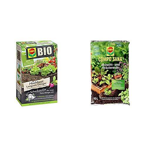 COMPO BIO Hochbeet Langzeit-Dünger für Gemüse, Obst, Kräuter und andere Hochbeet-Pflanzen, 5 Monate Langzeitwirkung, 750 g & SANA Anzucht- und Kräutererde mit 6 Wochen Dünger, 10 Liter