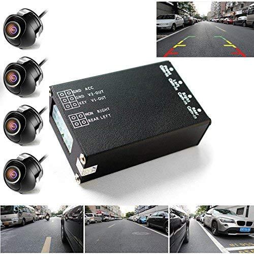 PolarLander 4PCS 360 View Car Camera Control Box 4 Way Caméras Commutateur système Vue arrière Arrière UP Caméras pour Arrière Gauche Droite Taille Caméra Avant