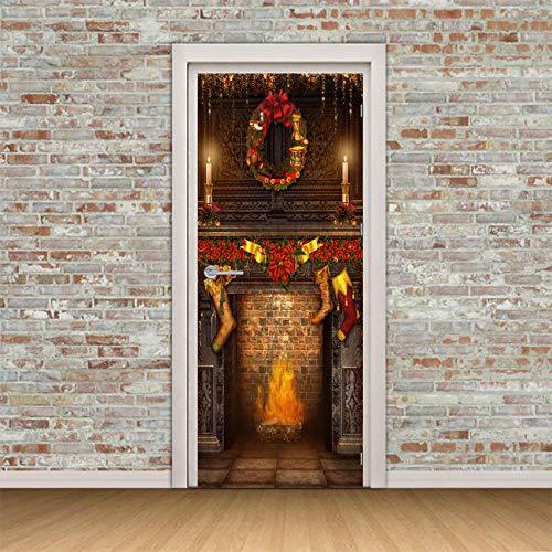JIANXIQT Adesivo Per Porte Interne 3D,Citazione Wall Stickers Moderna Moda 3D Calzino Di Natale Camino Adesivi Porta Arte Natale Decalcomania Per Il Soggiorno Camera Da Letto In Class