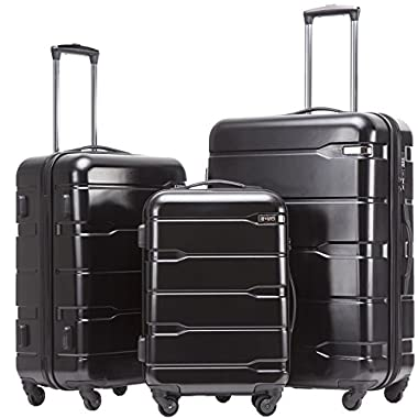 Coolife Luggage 3 Piece Sets PC+ABS Spinner Suitcase 20 inch 24 inch 28 inch (Black)
