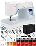 Janome Skyline S3 Computerized Sewing Machine w/Semi-Hard Cover + Instructional DVD + Ultra Glide Foot + Ditch Quilting Foot + Rolled Hem Foot + Concealed Zipper Foot + Needles + Much More!
