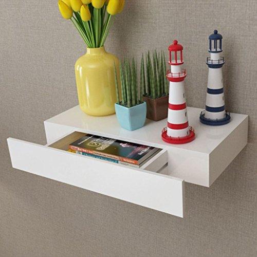 Vislone Estante Flotante Estantería de Pared Librerías de Salón Decoración del Hogar con 1 Cajón MDF Blanco (48x25x8cm)