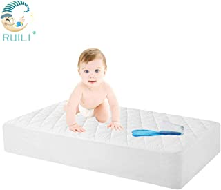 100% Waterproof Quilted Fitted Crib Mattress Protector, Soft Breathable Organic Bamboo Baby Waterproof Mattress Pad, Natural Vinyl Free Mattress Cover for Stains Proof