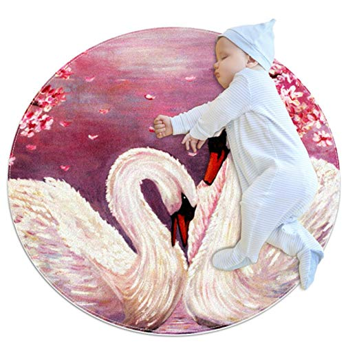 Oil Painting Swan Modern Living Room Area Rugs Non-Slip Bedroom Carpets Suitable for Children Room, Baby Room, College Dorm and Nursery Home Decor Floor Rugs