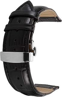 Correa De Reloj Cuero del Becerro Correa De Repuesto Pulsador Mariposa Deployant Clasp Ajuste para Tradicional Deportivo Reloj Inteligente
