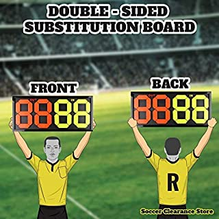 Soccer Substitution Board | Substitute Player Change Replacement | Double Sided Bright Fluorescent Number Display | Referee Switch in Out | 4 Digits 00 to 99, 33 x 15 Inch | Touchline | Rugby, Hockey