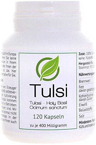 Tulasi (Tulsi, Holy Basil, Red Basil) - (Ocimum sanctum) - 120 Cápsulas en caja para preservar el aroma por cada 400 miligramos