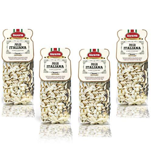 Livera Farfalle Doppelherz 4 x 500 Gr, Kurze Pasta aus Hartweizengrieß 100% Made in Italy, Pasta Farfalle, Italienische Exzellenz, Hochwertige Getrocknete Handwerkliche Pasta, Kochen 10'
