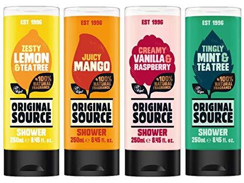 Original Source Duschgel 4er Set x 250 ml Exotisch Düfte Mango, Zitrone & Tee Baum, Vanille & Himbeere, Minze & Tee Baum