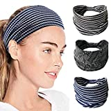 IYOU Diademas Deportivas Banda de sudor con estilo Envolturas de cabeza de yoga Bufanda elástica de algodón de cabeza ancha para mujeres y niñas (paquete de 3)