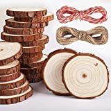 5ARTH Natural Wood Slices - 37 Pcs 2.0'-2.4' Craft Unfinished Wood kit Predrilled with Hole Wooden Circles for Arts Wood Slices Christmas Ornaments DIY Crafts