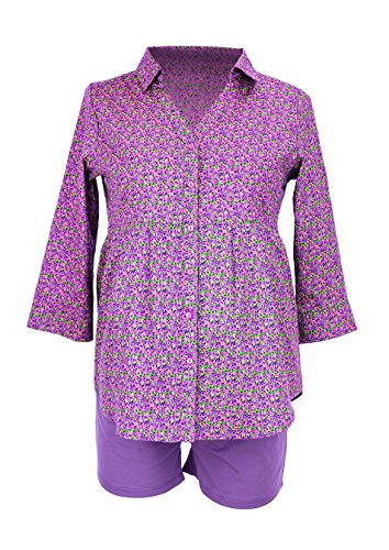 ANITA MATERNITY Umstands- und Still-Pyjamaoberteil Inja Umstandspyjama Schwangerschafts-Pyjama, Größe M, lila