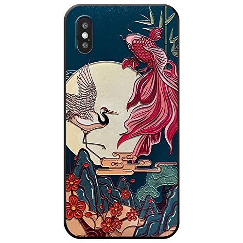 WotheCase Custodie E Cover,per iPhone 11 7 8 7 8Plus X XS XR XS Max Caso,Animale Goffrato, Triglie, Gru Uccello Pattern Design Flessibile Morbido TPU Retro Copertina,for iPhone 11Pro 5.8(inch)
