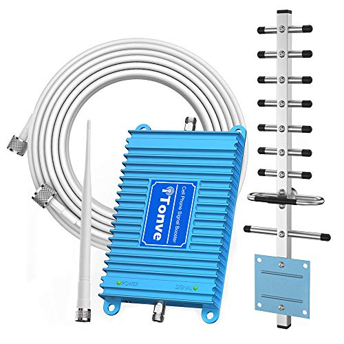 Cell Phone Signal Booster for Home and Office - Band2 1900MHz Mobile Cellular Repeater Boosts 2G 3G 4G Data and Volte for Multiple Users Up to 2,000Sq Ft. with High Gain Whip/Yagi Antennas
