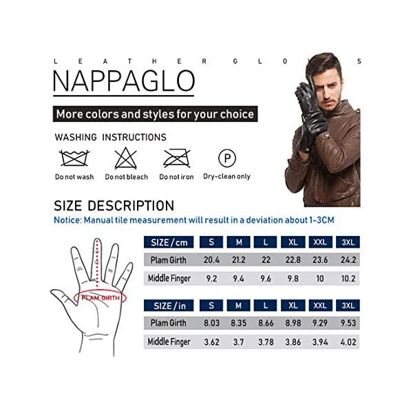 Nappaglo Men's Classic Fingerless Gloves Imported Lambskin Leather Silk Lining Half Finger Driving Cycling Outdoor Gloves