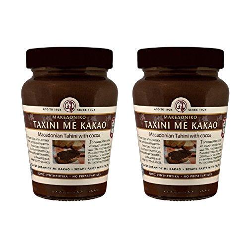 2x Tahini con cacao macedone 350g (700g) Pasta di sesamo Pasta Mus crema marrone Set per risparmiare denaro