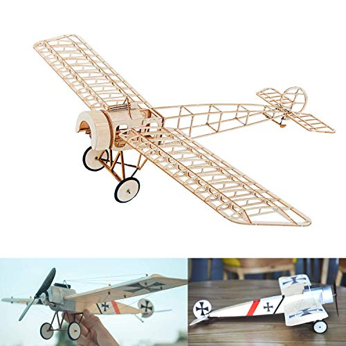 Fokker E.3 Slow Flyer KIT, 450 mm Spannweite, Maßstab 1/20, Modellflugzeug zum selber Bauen, Balsa Holz Bausatz, RC Flugzeugmodell Baukasten, 303 x 450 x 91 mm groß, Lasercut, 44,3 g Fluggewicht