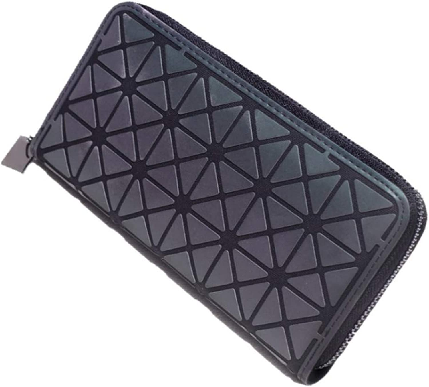 DIOMO Geometric Luminous Wallet Rainbow Holographic Zip Around Purse