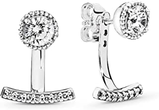 Abstract Elegance Drop Earrings, Sterling Silver, Clear Cubic Zirconia, One Size