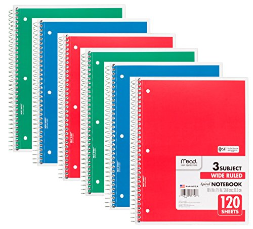 Mead 75698 Spiral Notebook, Wide Ruled, 3 Subject, 120 Sheets, 10.5' x 8', Assorted Colors, 6 Pack
