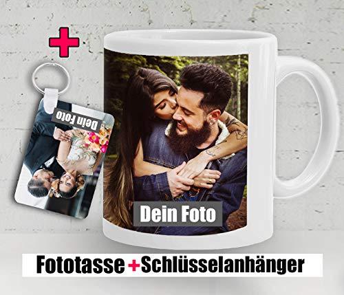 DEKO - Tasse selbst individuell mit eigenem Foto gestalten mit Schlüsselanhänger/Personalisierbar mit eigenem Foto Bedrucken/Fototasse/Motivtasse/Werbetasse/Weiss - Glanz. 2 Werktage versandbereit