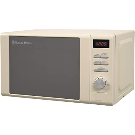 Russell Hobbs RHM2064C 20 Litre 800 W Cream Digital Heritage Microwave with 5 Power Levels, Automatic Defrost, 8 Auto Cook Menus, Clock & Timer, Easy Clean