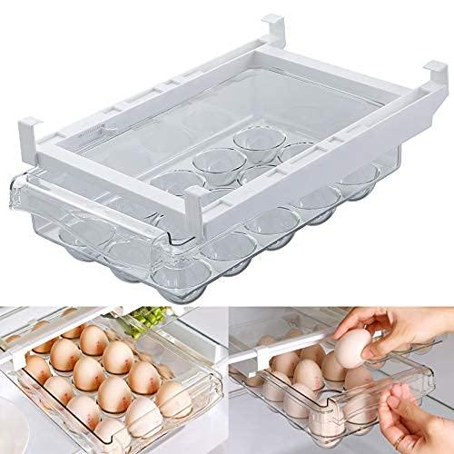 Organizador de huevos para nevera con asa, mini organizador de cajones para nevera, bandejas de huevos extraíbles, libremente..