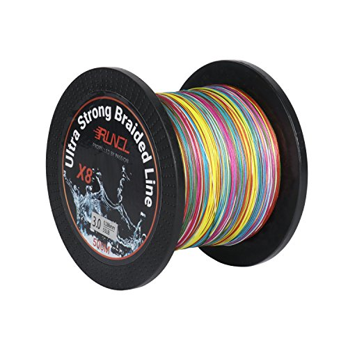 RUNCL Braided Fishing Line with 8 Strands, Fishing Line PE Material 546Yds/500M with Multiple Colors for Freshwater and Saltwater (546Yds/500M, 60LB(27.2kgs))