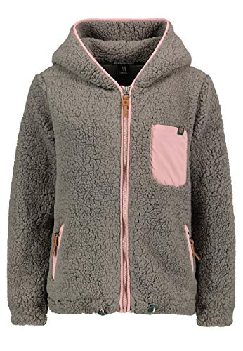 Sublevel Damen Teddy Fleecejacke mit Kapuze Dark-Grey S
